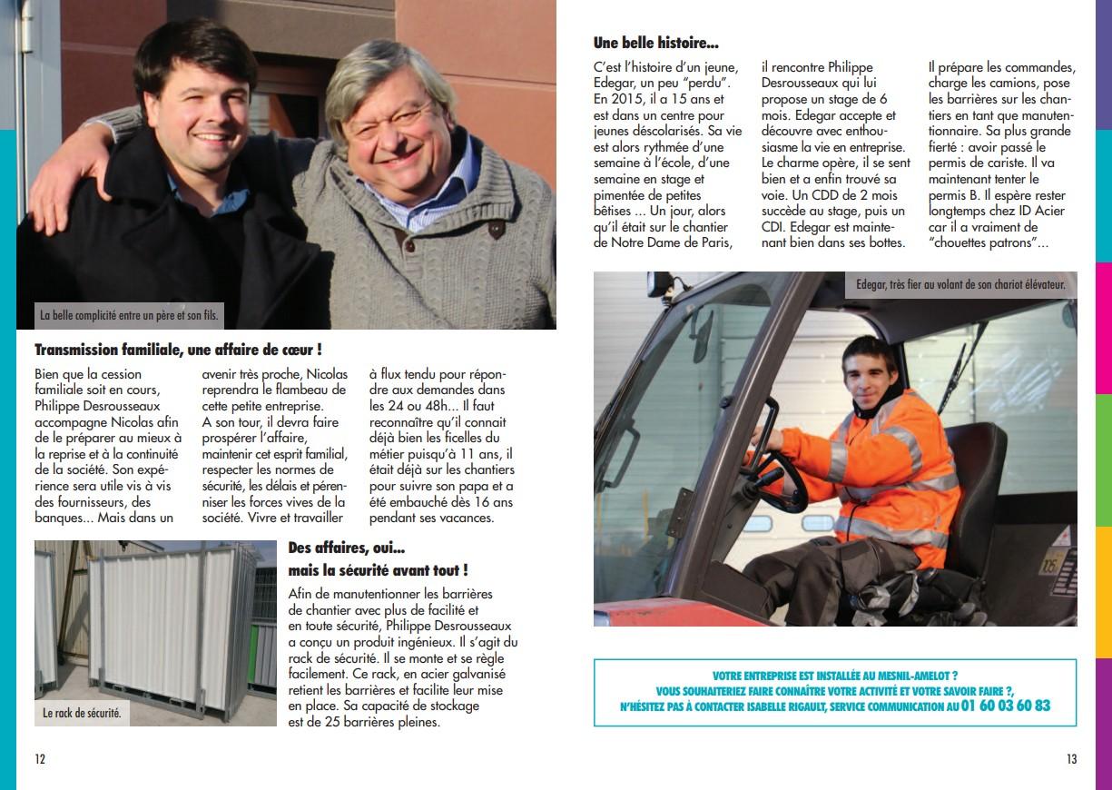 article sur ID Acier publié dans Le Meslinois